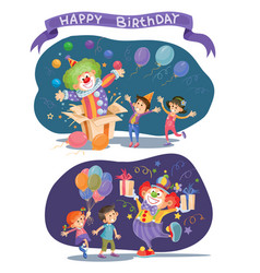 birthday background with happy kids and clown vector image