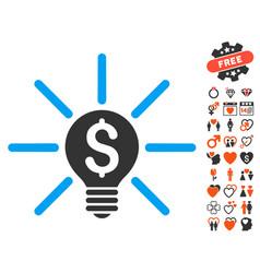 Business idea bulb icon with lovely bonus vector