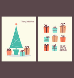 Christmas greeting cards with presents vector