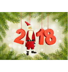 christmas holiday background with a 2018 and a vector image