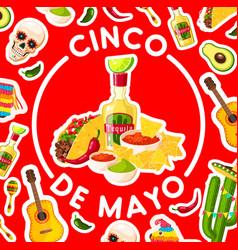 Cinco de mayo card with mexican fiesta party food vector