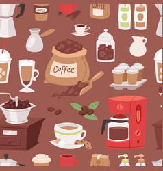 coffee drink cartoon pot devices and morning vector image