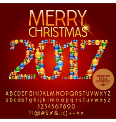 Colorful merry christmas 2017 greeting card vector