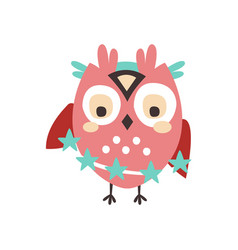 dizzy cartoon owl bird colorful character vector image vector image