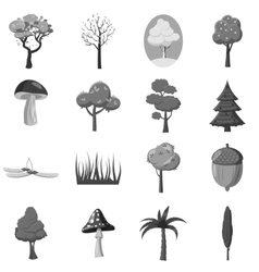 Forest icons elements set gray monochrome style vector