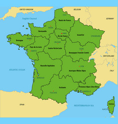 France map with regions and their capitals vector