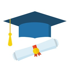 Graduation student hat and diploma vector