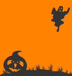 Halloween background with pumpkin and ghost vector
