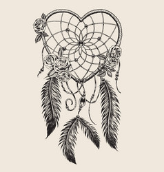 hand drawn heart shaped dream catcher vector image vector image