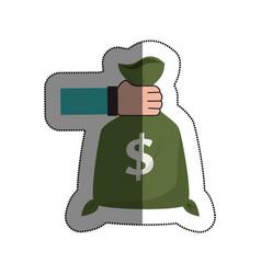 hand human with money bag vector image