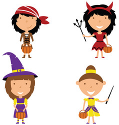 happy girls in halloween costumes vector image vector image