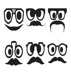 Hipster smiley set3 resize vector image