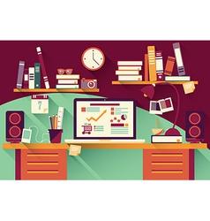 Home office desk - flat design long shadow work vector image vector image