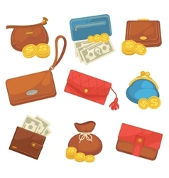 Icons set of wallets with money shopping vector image vector image