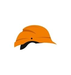 Orange construction helmet icon flat style vector image