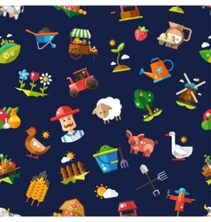 Pattern of modern flat design farm and vector