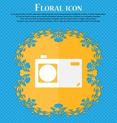 Photo camera sign icon digital symbol floral flat vector