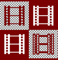 Reel of film sign bordo and white icons vector
