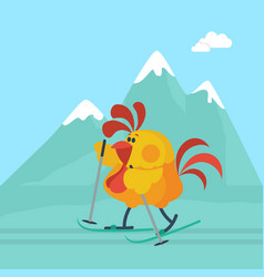 rooster skiing in mountains cartoon flat vector image