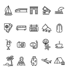 travel and tourism signs black thin line icon set vector image vector image