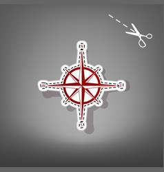 Wind rose sign red icon with for applique vector