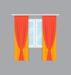 Window with elegance curtains isolated vector