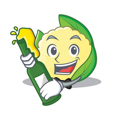 With beer cauliflower character cartoon style vector