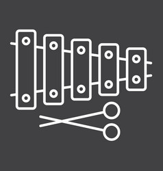 xylophone line icon music and instrument vector image vector image