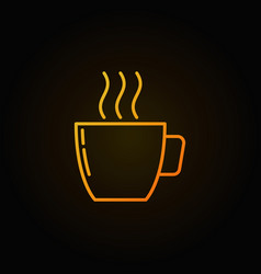 Yellow coffee cup outline icon on dark background vector