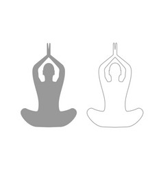 yoga pose of woman grey set icon vector image vector image