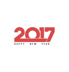 Happy new year 2017 holiday poster red lettering vector