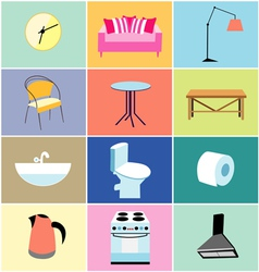 Various furniture and household items vector