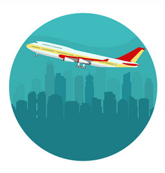 Airplane above the cityscape vector