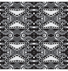 Grey geometry vintage floral seamless pattern vector