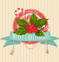 A christmas banner with holly berries bullfinch vector