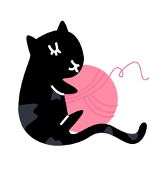 Cute little black kitten with ball vector