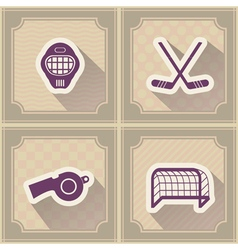 Seamless background with hockey icons vector