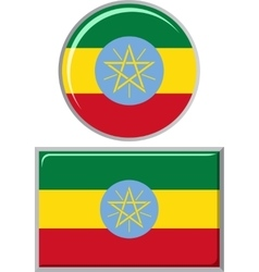 Ethiopian round and square icon flag vector