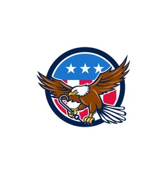 American eagle clutching towing j hook usa flag vector