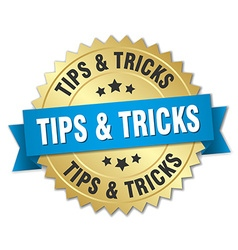 Tips tricks 3d gold badge with blue ribbon vector