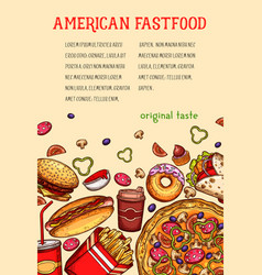 American fast food meal and drink sketch poster vector