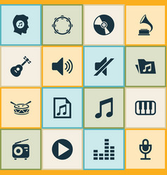 Audio icons set collection of mike tuner start vector