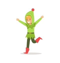 Boy in green hood dressed as santa claus christmas vector