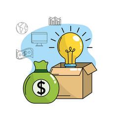 Bulb idea inside box and bag cash money vector