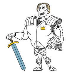 Cartoon medieval fantasy hero knight prince vector