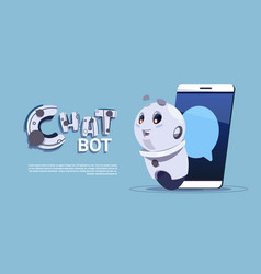 Chat bot in smart phone cute robot template banner vector