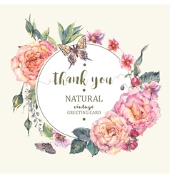 Classical vintage roses greeting card vector image vector image