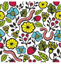 colorful seamless pattern with flora and fauna in vector image