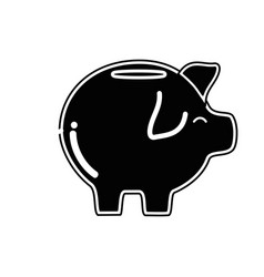 Contour pig icon save money currency vector