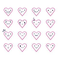 Emoticons doodle hearts vector